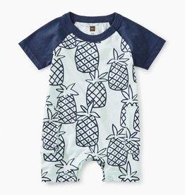 Tea Collection Peck of Pinapples Print Raglan Cargo Romper for Baby Boy