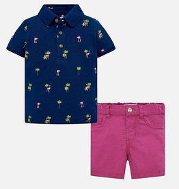 Mayoral Patterned Polo Shirt and Bermuda Shorts Set for Baby Boy