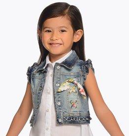 Mayoral Sleeveless Denim Jacket with Bandana Detail for Girl