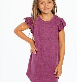 Chaser Brand Triblend Flutter Sleeve Shirtail Dress for Girl