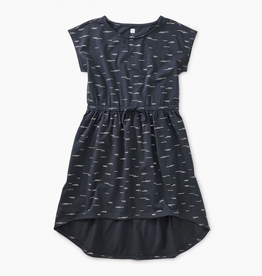 Tea Collection Sparkle Hi-Lo Tie Waist Dress in Glimmering Waves - Indigo for Girl