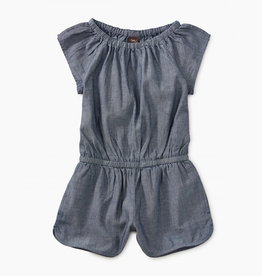 Tea Collection Chambray Flutter Sleeve Romper for Girl