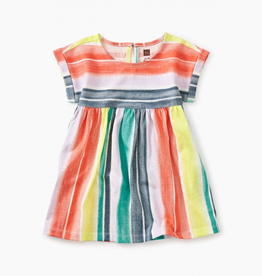 Tea Collection Printed Empire Baby Dress in Watercolor Stripe for Baby Girl
