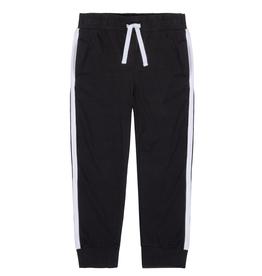 Deux Par Deux Jersey Black Sweatpants With White Bands At Sides for Girl