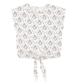 Deux Par Deux Crop Top Knotted At Front Printed With Cats Disguised As Unicorn for Girl