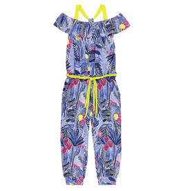 Deux Par Deux Stretch Viscose Printed Jumpsuit for Girl