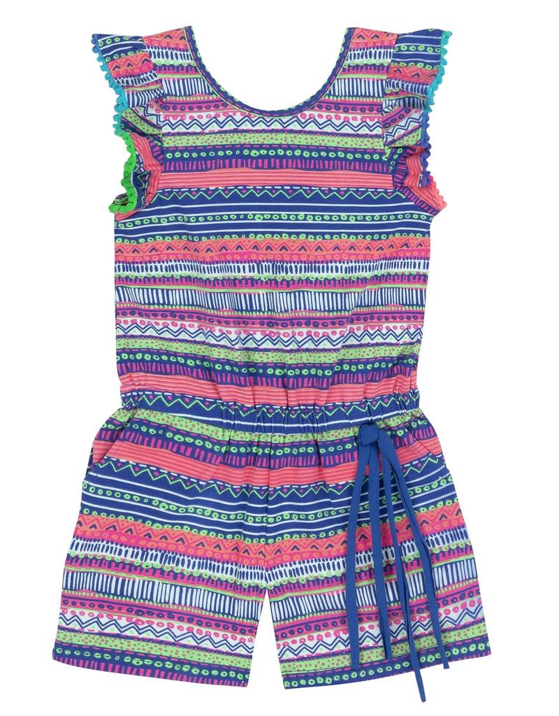Deux Par Deux Printed Jumpsuit Short With Frill Sleeves for Girl
