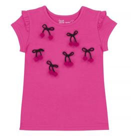 Deux Par Deux Fuchsia T-Shirt With Cherry pompons Applique for Girl