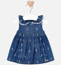 Mayoral Sleeveless Denim Dress with Collar for Baby Girl