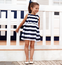 Mayoral Pleated Striped Dress for Girl