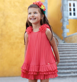 Mayoral Mayoral, Pleated Flower Dress with Ruffles for Girl