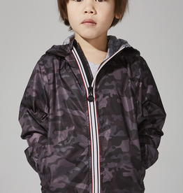 08 Lifestyle Print  Full Zip Packable Rain Jacket for Kids