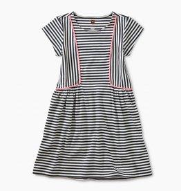 Tea Collection Pom Pom Striped Skirted Dress for Girl