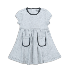Coccoli Pocket Dress inPewter & Cream for Girl