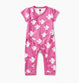 Tea Collection Dove Print Wrap Romper for Baby Girl