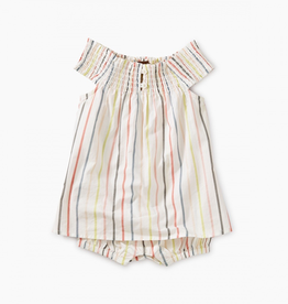 Tea Collection Stripe Smocked Romper Dress for Baby Girl