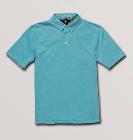 Volcom Wowzer Polo Short Sleeve Shirt in Cyan Blue for Boy