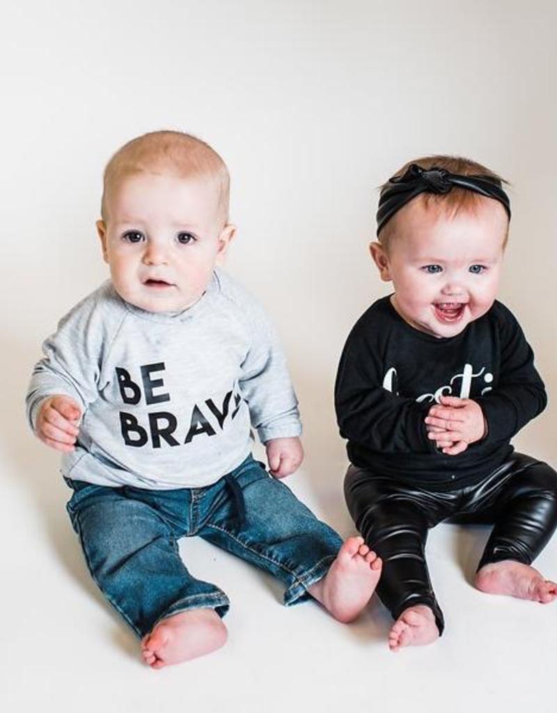 """Posh & Cozy """"Be Brave"""" Block Print Crewneck Tee for Baby"""