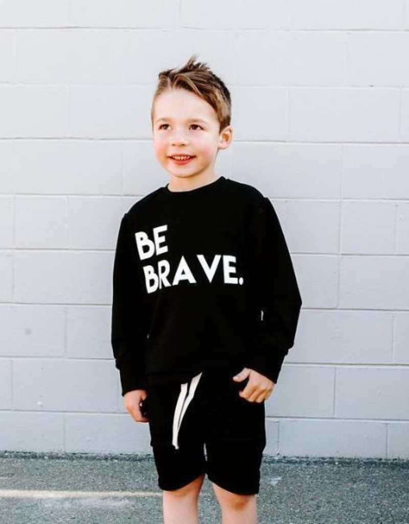 "Posh & Cozy ""Be Brave"" Block Junior Print Crewneck Tee for Boys"
