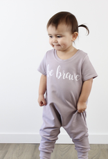 "Posh & Cozy ""Be Brave"" Cursive Print Short Sleeve Romper Tee for Baby Girl"