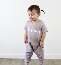 "Posh & Cozy ""Be Brave"" Cursive Print Short Sleeve Romper Tee for Baby Girl"