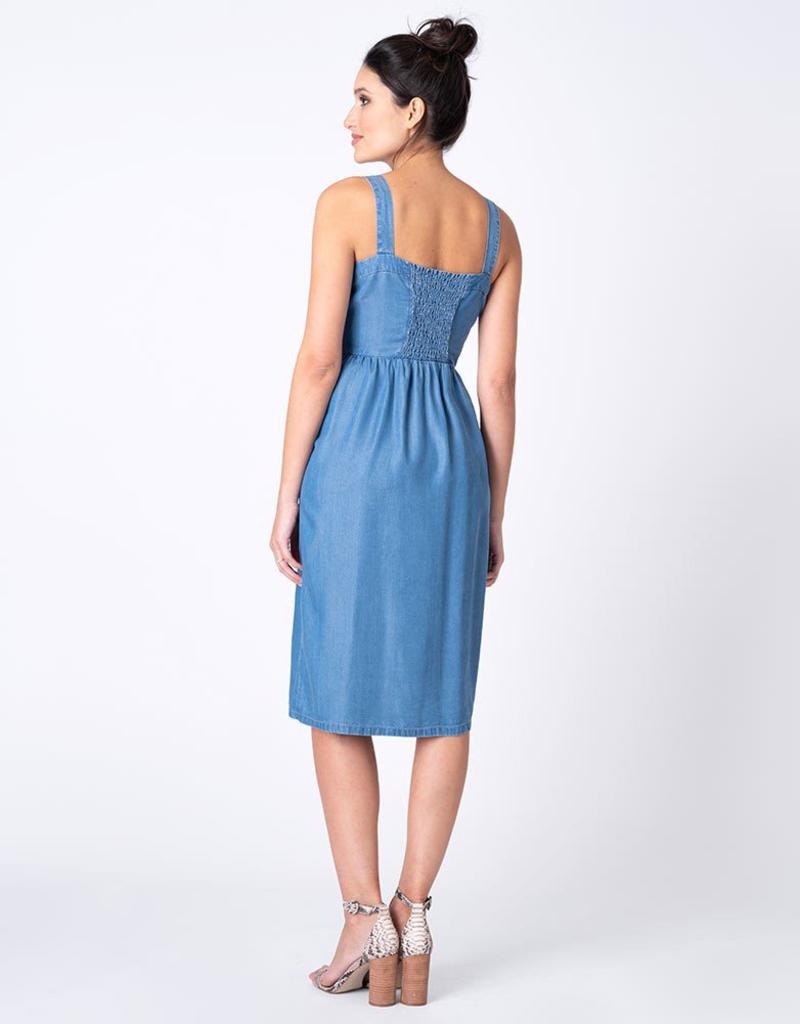 Seraphine Adelia, Chambray Denim Midi Maternity Dress