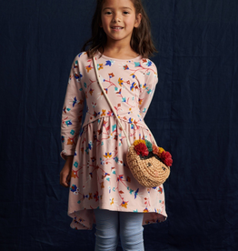 Tea Collection Summit Floral Printed Asymmetrical Wrap Dress for Girl