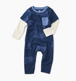 Tea Collection Printed Layered Sleeve Pocket Romper for Baby Boy