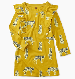 Tea Collection Leopard Cats Printed Ruffle Sleeve Dress for Girl