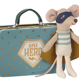 Maileg Superhero Little Brother Mouse in Suitcase