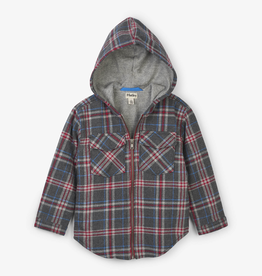 Hatley Grey Plaid Woven Full Zip Hoodie for Boy