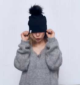 Lox Lion Black Plain Pom Pom Hat