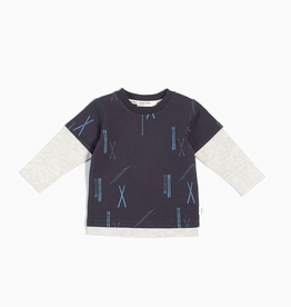Long Sleeve knit Ski T-Shirt for Boy in Dark Grey