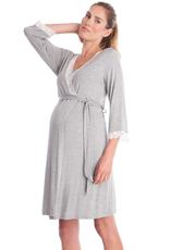 Seraphine Piper-Lace Trim Dressing Gown in Grey