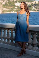 Seraphine Adelia, Chambray Denim Midi Maternity / Nursing Dress