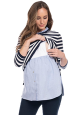 Seraphine Janice Cotton Maternity & Nursing Sweater with Detachable Collar