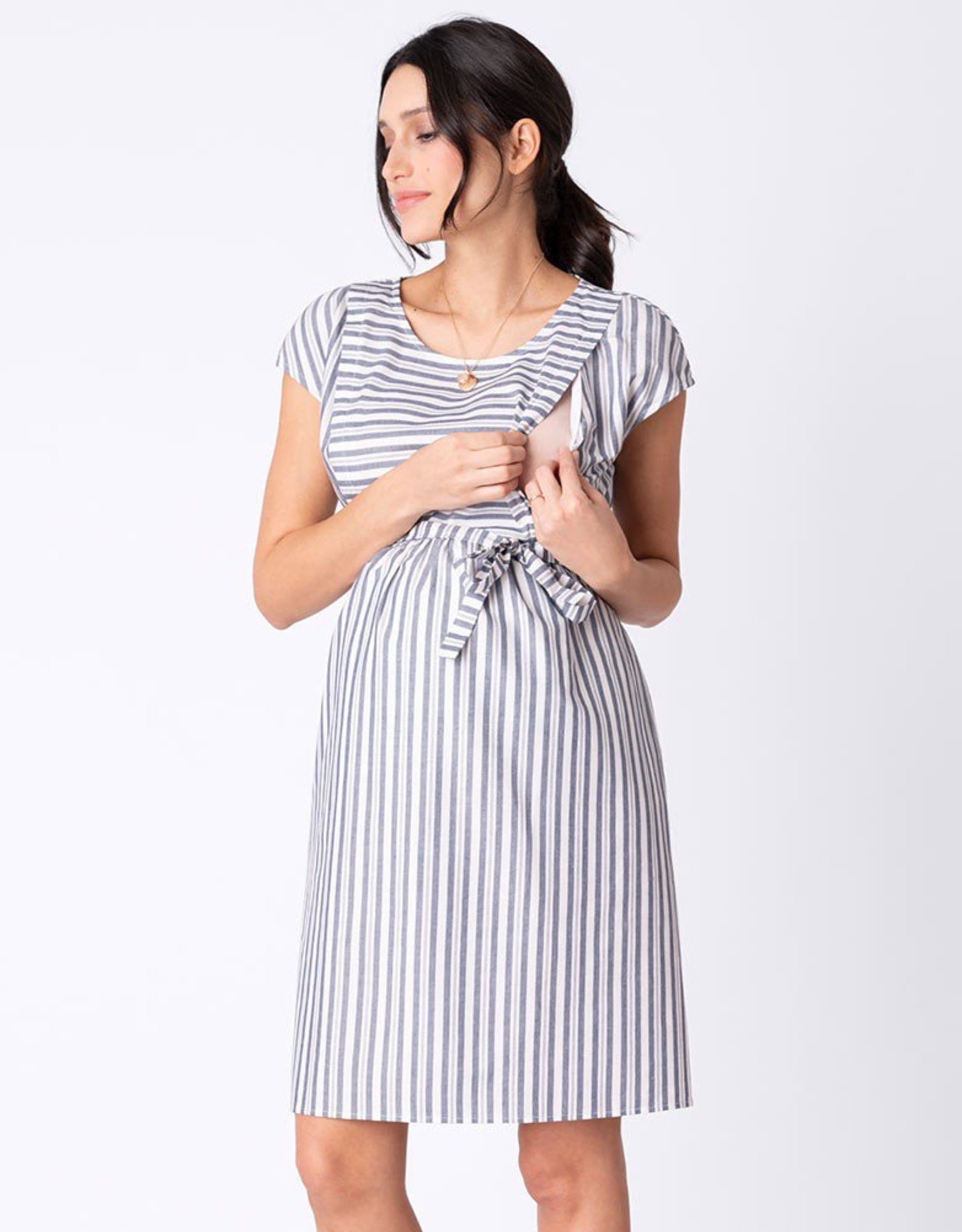 Seraphine Presley Cotton Stripe Maternity & Nursing Dress