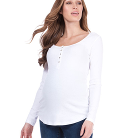 Seraphine Giovanna White Ribbed Maternity & Nursing Top