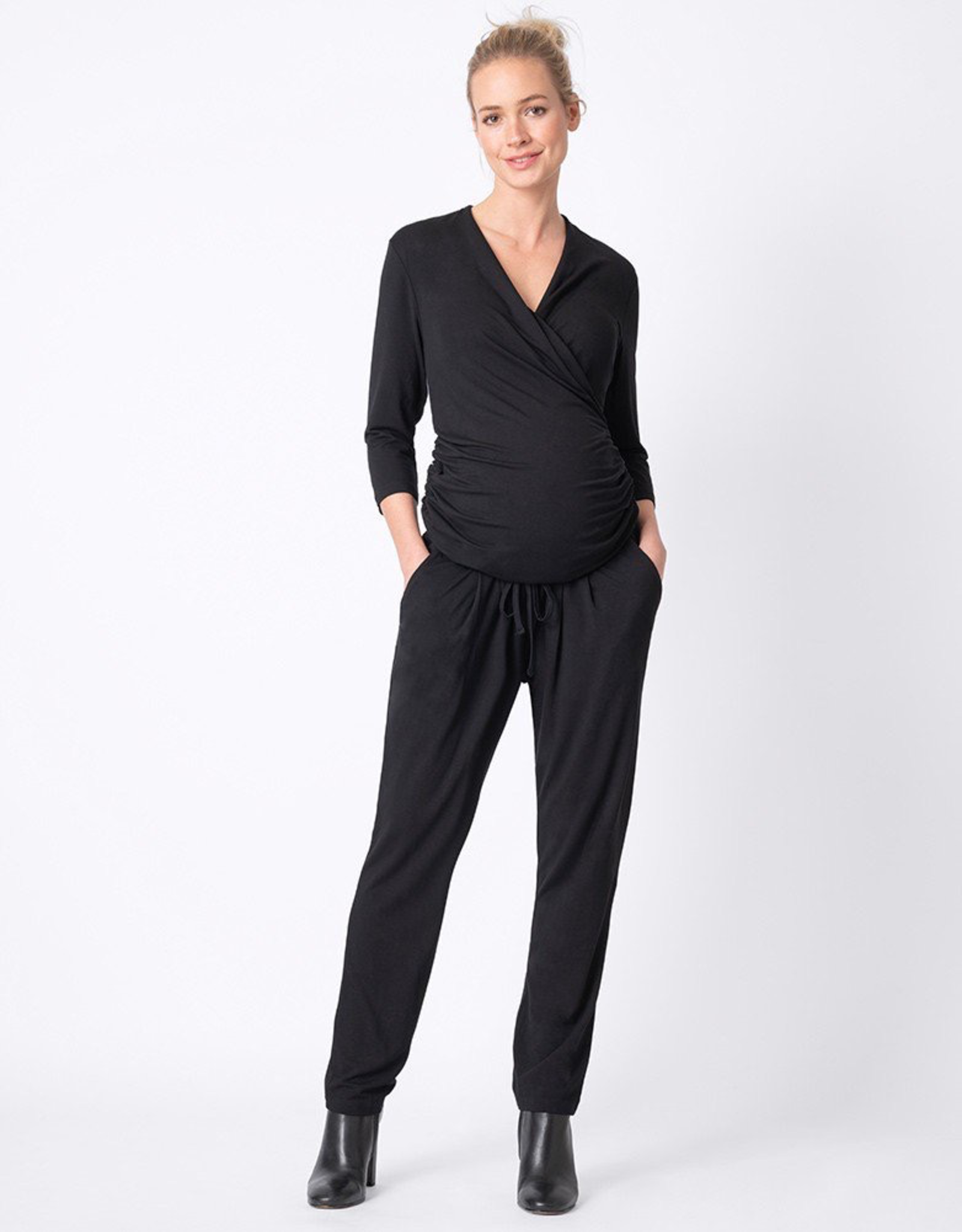 Seraphine Dove ¾ Sleeve Black Maternity / Nursing Jumpsuit