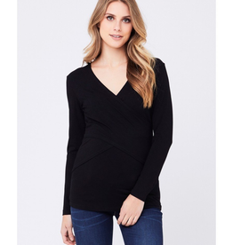 Ripe Maternity Embrace Black Long Sleeve Nursing Tee