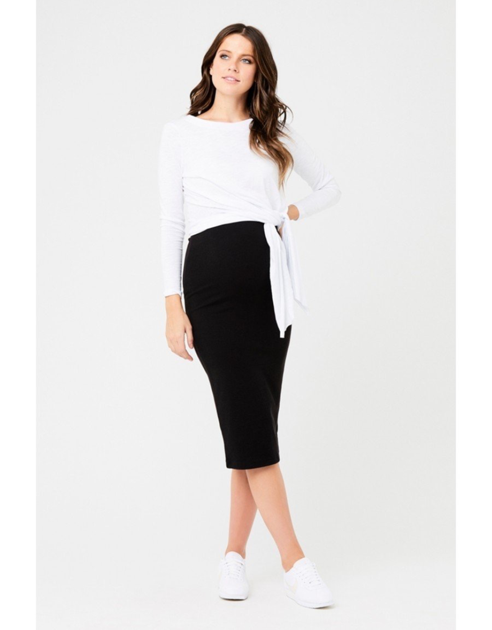 Ripe Maternity Ribbed Knit Maternity Black Pencil Skirt