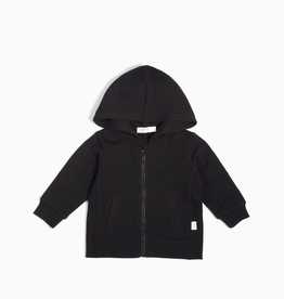 """""""Miles Basic"""" Black Zip Up Hoodie for Kids in Black"""