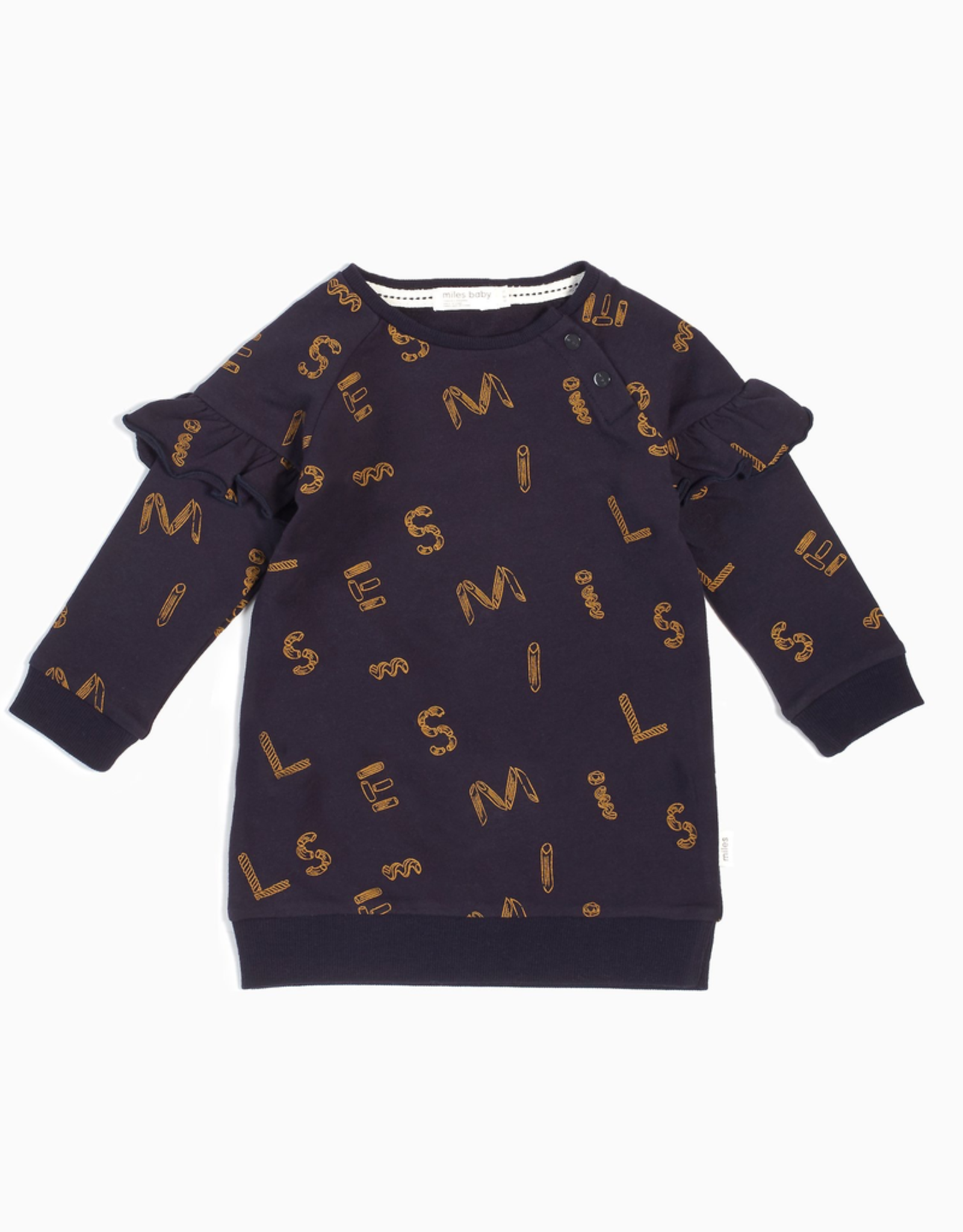"""Navy """"It Pasta Be You"""" Long Sleeve Dress for Baby Girl"""