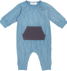 Blue Graphic Long Sleeve Playsuit for Baby