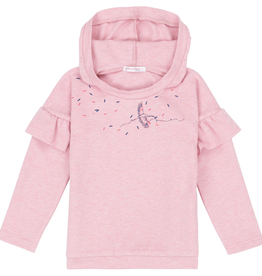 Deux Par Deux Pink Hoodie with Side Ruffles & Bird For Girl