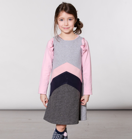 Deux Par Deux Grey Felt Overall Jumper Dress for Girl