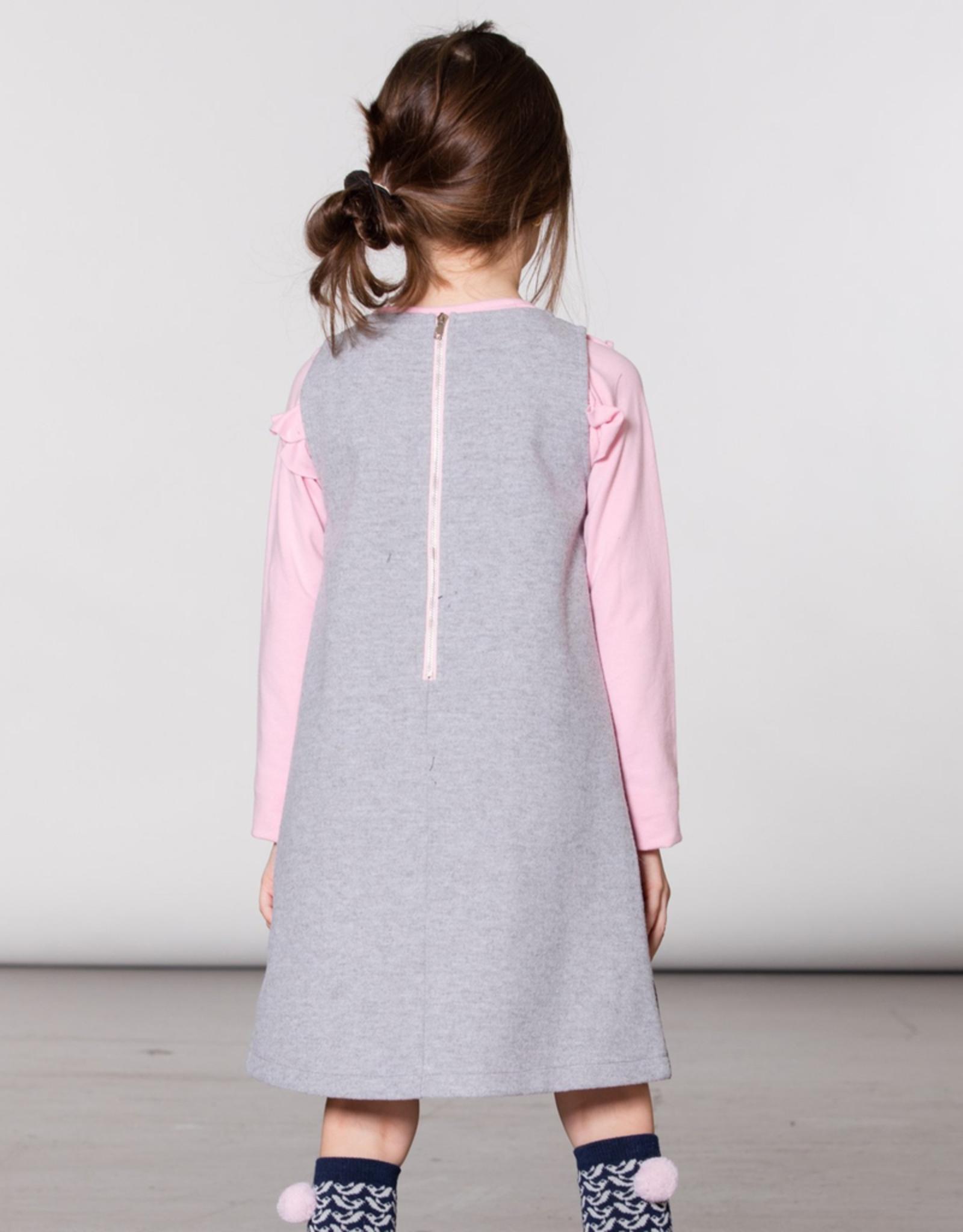 Deux Par Deux Grey Felt Overall Jumper Dress for Girl