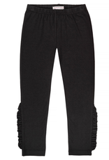 Deux Par Deux Black 3/4 Length Leggings With Frills At Sides for Girl
