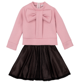 Deux Par Deux Pink Neoprene Top With Bow & Skirt Set for Girl