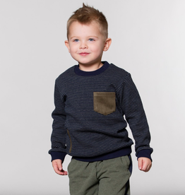 Deux Par Deux Navy Striped Sweatshirt With Pockets for Boy